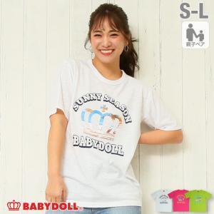 ベビードール BABYDOLL 子供服 Tシャツ リゾート メッセージ スラブ 親子お揃い 5142A 大人 レディース メンズ|babydoll-y