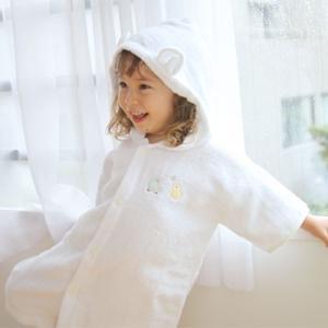 【出産祝い】お耳がキュートなフード付きバスローブ★『ふわサラ袖付き湯上がりバスローブ』(ベビーバスローブ)(ベビーグース) babygoose