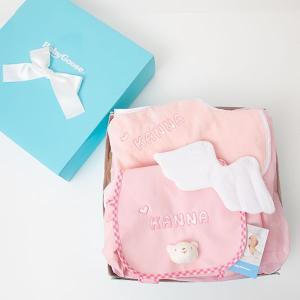 出産祝い 名入れ リュック ベビー ギフト 1歳誕生日プレゼント Namingくまさんリュックと天使のスタイのセット(BOX付き)|babygoose