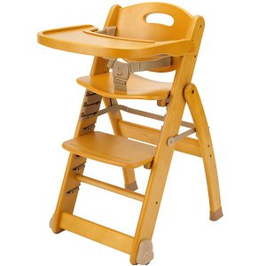 ミーブル ローハイチェア テーブル付 折りたたみ 木製 簡単調整|babyish