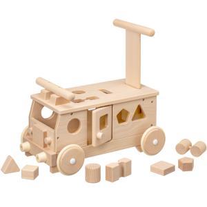 森のパズルバス 乗用玩具 押し車 木製 足けり おもちゃ ブロック・パズル 知育|babyish