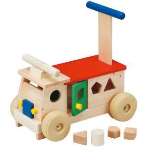 カラフルバス 乗用玩具 押し車 木製 足けり乗用 おもちゃ  ブロック・パズル 知育|babyish