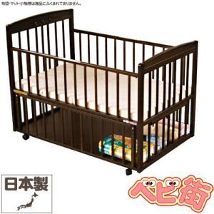 ベビーベッド サワベビー ティアラDX ダークブラウン/澤田工業 ベビーベット ひのきの床板  添い寝ベッド 送料無料|babymachi