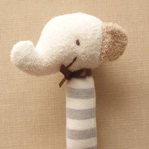 オーガニックコットン ベビーラトル ゾウさん 日本製 ナチュラルスタイル 赤ちゃんのおもちゃ にぎにぎ ガラガラ 新生児|babynetshop