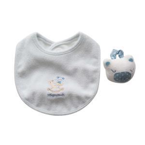 よだれかけ ラトル【日本製 ミニギフト2点セット】リストバンド型 ブタさん サックス スタイ ビブ 赤ちゃんのおもちゃ がらがら 出産祝い ギフト包装|babynetshop