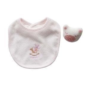 よだれかけ ラトル【日本製 ミニギフト2点セット】リストバンド型 ブタさん ピンク スタイ ビブ 赤ちゃんのおもちゃ がらがら 出産祝い ギフト包装|babynetshop