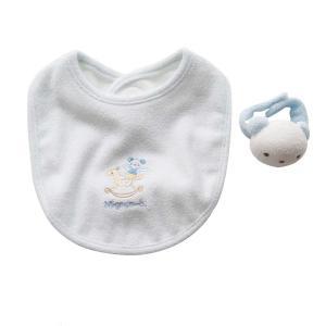 よだれかけ ラトル【日本製 ミニギフト2点セット】リストバンド型 クマさん サックス スタイ ビブ 赤ちゃんのおもちゃ がらがら 出産祝い ギフト包装|babynetshop