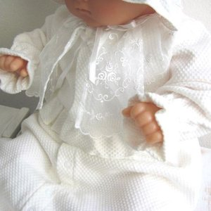 冬物 お帽子付きベビードレス2点セット 11504 ホワイト|babynetshop