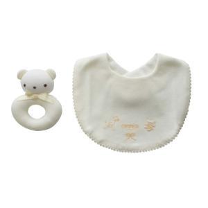 よだれかけ ラトル【日本製 ミニギフト2点セット】リング型 クマさん クリーム スタイ ビブ 赤ちゃんのおもちゃ がらがら|babynetshop