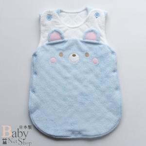 ベビー用スリーパー 柔らか無撚糸パイル 日本製 サックス|babynetshop