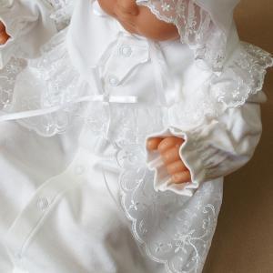 厚手の秋冬物素材 2点セット 退院時お宮参り用お帽子付き ベビーセレモニードレス (15517)|babynetshop|14