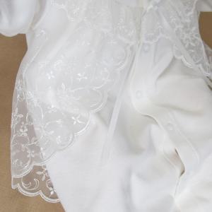厚手の秋冬物素材 2点セット 退院時お宮参り用お帽子付き ベビーセレモニードレス (15517)|babynetshop|15