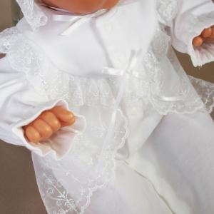 厚手の秋冬物素材 2点セット 退院時お宮参り用お帽子付き ベビーセレモニードレス (15517)|babynetshop|04