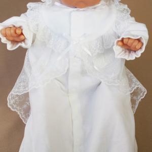 厚手の秋冬物素材 2点セット 退院時お宮参り用お帽子付き ベビーセレモニードレス (15517)|babynetshop|07