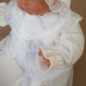 厚手の秋冬物素材 2点セット 退院時お宮参り用お帽子付き ベビーセレモニードレス (15517)|babynetshop|08