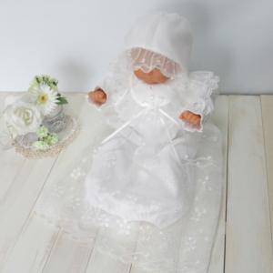 胸元の花モチーフがとっても可愛い ロングコートのベビードレス お帽子付き(17702)|babynetshop