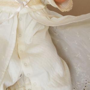 【お宮参り 新生児 退院時用 ベビードレス セレモニードレス】お帽子付き2点セット ベージュ babynetshop 15