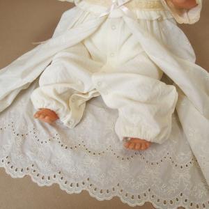 【お宮参り 新生児 退院時用 ベビードレス セレモニードレス】お帽子付き2点セット ベージュ babynetshop 17