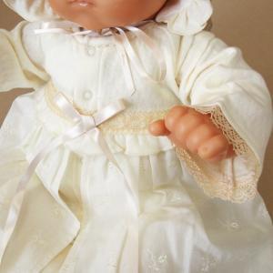 【お宮参り 新生児 退院時用 ベビードレス セレモニードレス】お帽子付き2点セット ベージュ babynetshop 05
