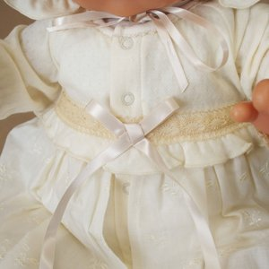 【お宮参り 新生児 退院時用 ベビードレス セレモニードレス】お帽子付き2点セット ベージュ babynetshop 06