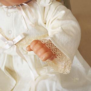 【お宮参り 新生児 退院時用 ベビードレス セレモニードレス】お帽子付き2点セット ベージュ babynetshop 08