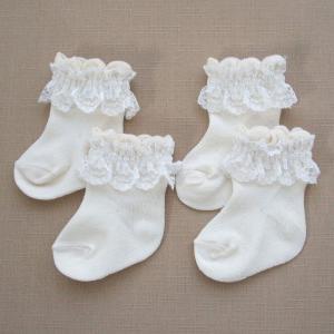 2足組 オーガニックコットン 新生児用ソックス フリフリレース ベビー靴下 日本製 660872og|babynetshop