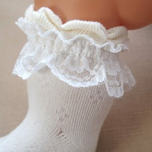 オーガニックコットン 新生児用ソックス フリフリレース ベビー靴下 日本製 66087og|babynetshop