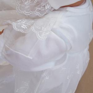 お宮参り用ベビードレス セレモニードレス3点セット 春秋素材のツーウェイオール ふんわり豪華に広がる 2段コート|babynetshop|13