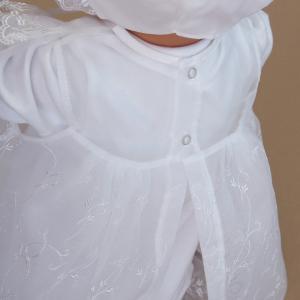 お宮参り用ベビードレス セレモニードレス3点セット 春秋素材のツーウェイオール ふんわり豪華に広がる 2段コート|babynetshop|14