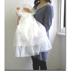 お宮参り用ベビードレス セレモニードレス3点セット 春秋素材のツーウェイオール ふんわり豪華に広がる 2段コート|babynetshop|15