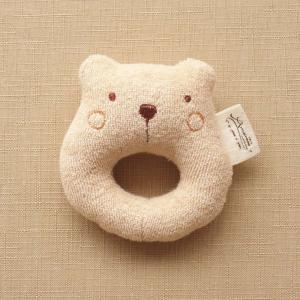 オーガニックコットン ベビーラトル ゆるくま 日本製 アモローサマンマ リング型 赤ちゃん 男の子 女の子 男女兼用 にぎにぎ ガラガラ 新生児 モカ|babynetshop