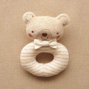 オーガニックコットン ベビーラトル リング型 くまさん ブラウン 日本製 アモローサマンマ 赤ちゃんのおもちゃ 男の子 女の子 男女兼用 ガラガラ 新生児用品|babynetshop
