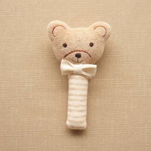 オーガニックコットン ベビーラトル くまさん スティック 日本製 アモローサマンマ 赤ちゃんのおもちゃ 男の子 女の子 男女兼用 にぎにぎ ガラガラ 新生児用品|babynetshop