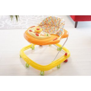 オリジナルベビーウォーカー歩行器 ストッパー付き オレンジ×イエロー(同梱物ある場合には別途送料かかります)|babyshop