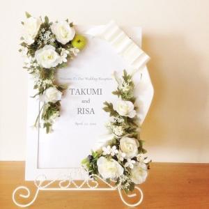 完成品 ウェルカムボード 結婚式/ウェディング/Garden White(A4) フレーム付