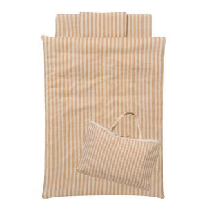 ベージュのストライプのダブルガーゼを使用したお昼寝布団。 シンプルで飽きの来ないデザインです。 リニ...