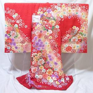 女の子 お宮参り用 お初着 正絹 (嵐山/赤地に花柄)|babytown