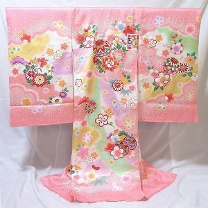 女の子 お宮参り用 お初着 正絹 (桃/毬と花柄)|babytown