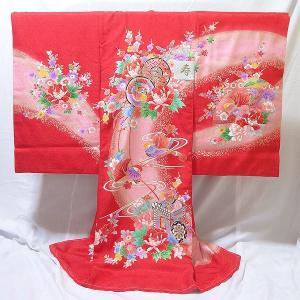 女の子 お宮参り用 お初着 正絹 (乱菊/赤地に鼓と花柄)|babytown