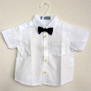 男児フォーマル 半袖白シャツ 黒蝶ネクタイ付き 80・90・95・100cm 6316-1|babytown