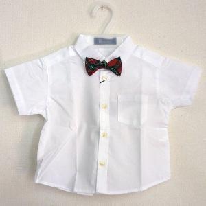 男児フォーマル 半袖白シャツ チェック柄蝶ネクタイ付き 80・90・95・100cm 6316-1|babytown