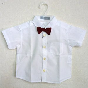 男児フォーマル 半袖白シャツ 赤蝶ネクタイ付き 80・90・95・100cm 6316-1|babytown