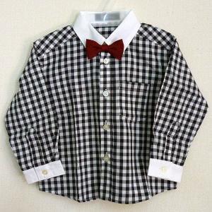 男児フォーマル 長袖シャツ 赤蝶ネクタイ付き 80・90・95cm 白黒ギンガムチェック柄(大) 2216|babytown