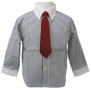 男児フォーマル 長袖シャツ 赤ネクタイ付き 80・90・95cm 白黒ストライプ柄 2216|babytown