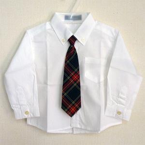 男児フォーマル 長袖白シャツ チェック柄ネクタイ付き 80・90・95・100cm 8316|babytown