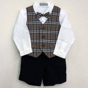男児フォーマル ベストスーツ 80・90・95・100cm シャツ・蝶ネクタイセット ベージュタータンチェック柄 7171|babytown