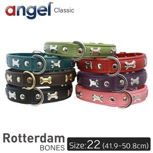 Rotterdam BONES 22インチ Angel 犬 首輪 本革 柔らかい ソフトレザー 小型 子犬 大型 中型 高級 おしゃれ かわいい 骨|babywest