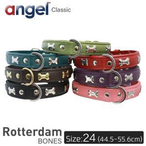 Rotterdam BONES 24インチ Angel 犬 首輪 本革 柔らかい ソフトレザー 小型 子犬 大型 中型 高級 おしゃれ かわいい 骨|babywest