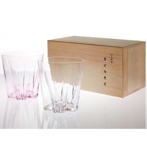 ロックグラス サクラサクグラス 紅白ペアセット SAKURASAKU glass ロック|back