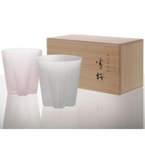 ロックグラス サクラサクグラス 雪桜 紅白ペアセット SAKURASAKU glass ロック|back
